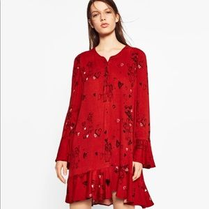Zara printed frilled dress XS.Red long sleeves $35